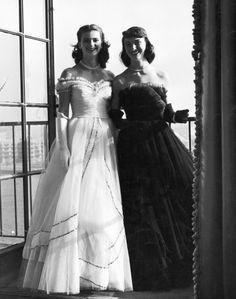 Two debutantes making their debut at cotillion at the Waldorf Astoria Hotel, New York, 1946.