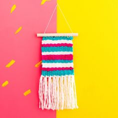 Make a wall hanging weave to decorate your home with using this Brit + Co DIY Kit available at Target. http://go.brit.co/2mW4rzc