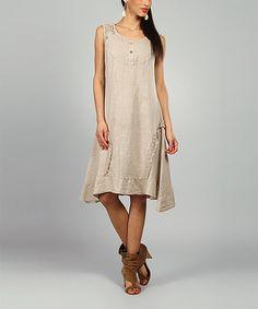 Look at this #zulilyfind! 100% LIN BLANC Beige Lydia Linen Scoop Neck Dress by 100% LIN BLANC #zulilyfinds
