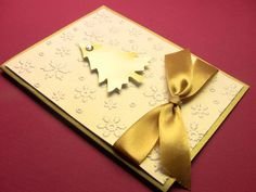 gold+ink+on+handmade+cards | Handmade 3-D Christmas Card, Golden Christmas Tree on Snow White ...