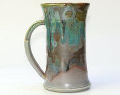 Mug Large Ceramic Green Turquoise Mug with Plum by PrimitivePots, $25.00