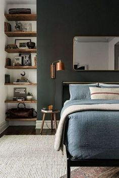 Rustic Bedroom Ideas - If you want to go to rest in rustic posh after that this article is excellent for you. We have actually collected a lot of rustic bedroom style ideas you could make use of. Bedroom Interior, Masculine Bedroom Design, Diy Apartment Decor, Bedroom Inspirations, Apartment Decor, Small Bedroom, Scandinavian Design Bedroom, Bedroom Color Schemes, Master Bedroom Colors