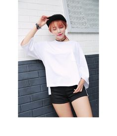 Loose High-Low T-Shirt (Ivory) | STYLENANDA