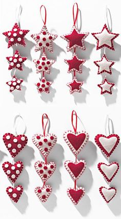 3 hanging felt stars/hearts in patchwork Sewn Christmas Ornaments, Handmade Christmas Decorations, Felt Ornaments, Christmas Crafts, Felt Decorations, Valentine Day Crafts, Holiday Crafts, Valentines, Christmas Sewing Projects