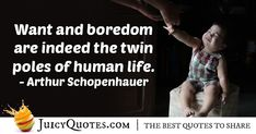 """""""Want and boredom are indeed the twin poles of human life."""" – Arthur Schopenhauer"""
