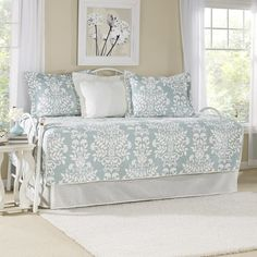 Laura Ashley Rowland Breeze Daybed Cover Set: Laura Ashley daybed cover set includes quilted daybed cover with split corners, bed skirt and 3 coordinating standard shams. Dress up your room with our signature Laura Ashley prints. Daybed Cover Sets, Daybed Sets, Daybed Comforter, Comforter Sets, Laura Ashley Rowland, Laura Ashley Home, Ashley Blue, Sofa, Daybed Couch