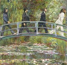 ¿Y por qué no? Modern Monet - The Beatles Walk Over the Abbey Road Bridge. Foto Beatles, Les Beatles, Beatles Art, Abbey Road, Ringo Starr, Appropriation Art, Monet Paintings, Famous Art, Claude Monet