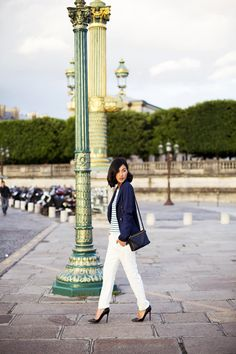 Nicole Warne in my favorite city! Zara Blazer, Twenty Seven Names Top, J Brand Trousers, Louboutin Heels