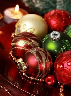 Beautiful Christmas ornaments as table decoration Stock Photo
