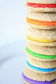 Double Vanilla Delights~Rainbow Cookies by Munchkin Munchies. Rainbow Treats, Rainbow Food, Taste The Rainbow, Rainbow Cookie, Rainbow Icing, Rainbow Parties, Rainbow Birthday Party, Rainbow Wedding, Unicorn Birthday