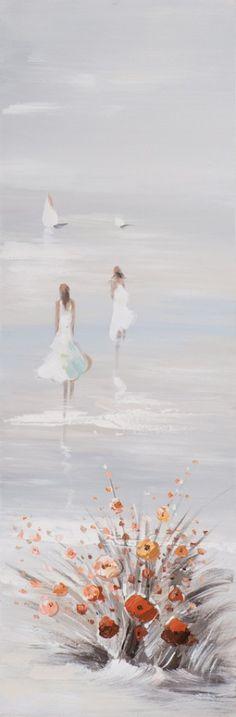 Schilderij strand 30x90