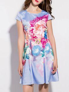 Multicolor Polyester Short Sleeve Mini Dress