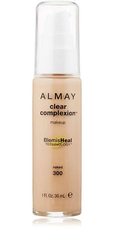 Almay Clear Complexion Liquid Makeup: Debra Jaliman, MD, a dermatologist based in New York City, recommends this liquid foundation from Almay. Available in seven shades, it contains both salicylic acid to fight blemishes and unclog pores as well as soothing aloe and chamomile to easeredness. And at just $9, you can't beat the price.