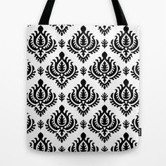 Black Baroque Tote Bag by patterndesign - $22.00