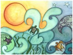 Playing the Waves by maiaart on Etsy, $3.75