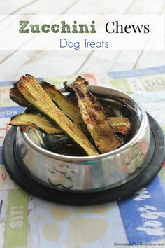 Zucchini Chews Dog Treats recipe that can be baked in the oven or dehydrator.