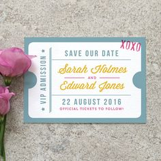 Ticket Stub 'Save the Date' Card / 'Just the by twoforjoypaper