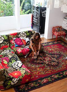 boho, rug and sofa