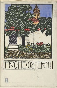 Postcard Happy Easter! (Frohe Ostern!), Carl Krenek, Wiener Werkstätte, color lithrograph, 1909