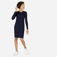 Like your favorite sweater made into a dress. Slim, stretchy, and super-soft, with ribbed detailing down the sides, this long-sleeve dress is made from Australian merino wool spun in Italy.