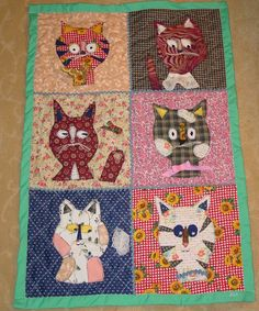 https://flic.kr/p/9FuyNq | Folk Art Wall Quilt - Cats 03332