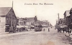 """Columbia Street, New Westminster"" Canadian Souvenir Post Card. Published for The Fair New Westminster B. 44889 View looking north into the of Columbia Street from the intersection at Begbie Street in New Westminster, BC. Sales Image, Vancouver Island, History Facts, Westminster, Back In The Day, Old Pictures, Historical Photos, British Columbia, Canada"