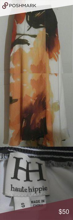 "Halte Hippie Women's Orange Brown MaxI Skirt Sze S Orange Brown multicolor maxi skirt Size S,  waist 31"" with elastic 40.5 long.  NWOT Excellent condition Haute Hippie Skirts Maxi"