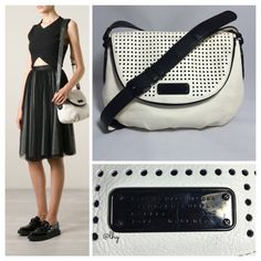 """MARC BY MARCJ JACOBS NEW-Q PERFORATED NATASHA BAG Authentic MBMJ New-Q Perforated Natasha Crossbody. """"Leche"""" (off white) leather w/contrast black trim & black hardware. Approx 13""""W x 10""""H x 4""""D. Adjustable shoulder strap drop  20""""-22"""". Perforated fold over zip around flap w/ magnetic snap closure. Logo nameplate. Interior zip & 2 slip pockets. Dual color shoulder strap. Dustbag not included. Excellent pre-owned condition. Minor color transfer on rear side of bag near base. Otherwise, no…"""