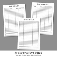 """A5 Size """"BOOK CLUB"""" Planner Insert Bundle by LittlePinkPlanner on Etsy"""