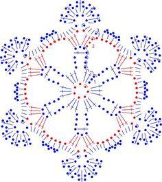 snowflakes crochet 256 schema