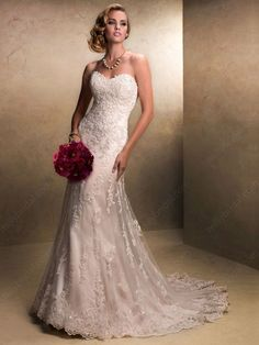 Sheath/Column Sweetheart Lace Satin Sweep Train Beading Ivory Wedding Dresses at Millybridal.com