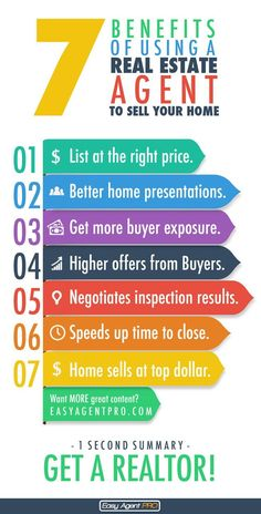 7 benefits of using a real estate agent to sell your home.  This cool infographic shows you why it's best to use a realtor to sell your property.  #marketing #realtor #realestate: