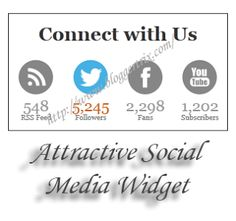 Attractive Social Media Widget For Blogger | Blogger Trix | Blogger Tips and Tricks | Free Templates