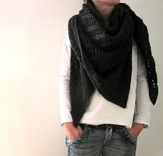 """""""Paris Toujours"""" shawl wrap knitting pattern by Isabell Kraemer.  Knit with DK weight yarn."""