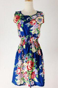 Casual Style Sleeveless Scoop Neck Floral Print Chiffon Women's Dress