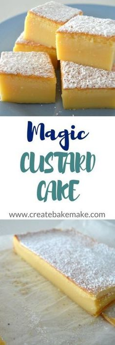 Vanilla Magic Custard Cake This is one to try ! Magic Custard Cake, Custard Desserts, Delicious Desserts, Yummy Food, Healthy Food, Magic Cake Recipes, Sweet Recipes, Dessert Recipes, Cupcakes