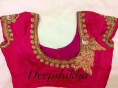 Everything You Need to Know About Blouse Embroidery Designs blouse embroidery designs blouse patterns . Fancy Blouse Designs, Bridal Blouse Designs, Blouse Neck Designs, Blouse Patterns, Pattu Saree Blouse Designs, Maggam Work Designs, Back Neck Designs, Blouse Models, Peacock Design