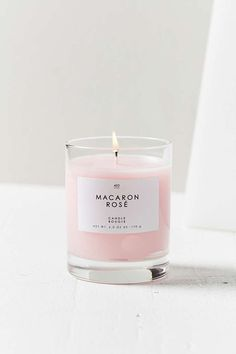 Gourmand Candle in Macaron Rose, a beautiful millennial pink colour. Rose Candle, Candle Jars, Candle Shop, Bougie Candle, Candle Gifts, Candle Holders, Macarons Rose, Home Spray, Millenial Pink