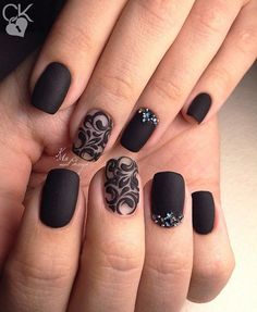 Another studded Black Nail art. If you love ornamented nails and black color as … Another studded Black Nail art. If you love ornamented nails and black color as well, this nail art design is worth trying for you.