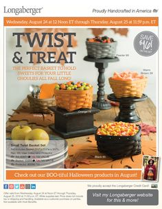 Thinking fall already at Longaberger. the Small Twist Basket Set $42 ($58 retail) Save $16! Starts Wednesday, August 24 at noon  Contact me or order ww.w.longaberger.com/joanrhoads. Uses....pocket catch-all, candy, nuts, fall chex mix, napkins, plasticware, salsa, dips, coasters.