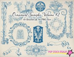 Decorative Frames and Ornaments Brushes Volume 2- Photoshop Brushes Fancy Ornament Sampler - Instant Download - Photoshop Elements Brushes