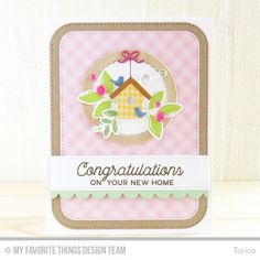 No Place Like Home Stamp Set, Bold Blooms Stamp Set and Die-namics, Birdhouses Die-namics, Bundle of Baby Clothes Die-namics, Stitched Circle Scallop Frames Die-namics, Blueprints 9 Die-namics, Blueprints 31 Die-namics - Torico  #mftstamps