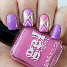 Pink and Purple Tape Nails