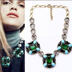 New arrival High fashion good quality green rhinestone vintage choker necklaces for woman collier femme bijoux necklace