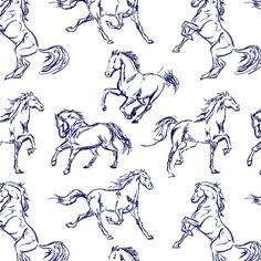 Blue Horse Sketches custom fabric by thinlinetextiles for sale on Spoonflower Outline Drawings, Horse Drawings, Easy Drawings, Animal Drawings, Horse Drawing Tutorial, Horse Outline, Running Pose, Drawing Reference Poses, Drawing Tips