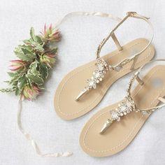 0f12bd3ad95de5 Something Blue Sole Wedding Shoes Sandals with gold Jewel Crystal Destination  Beach Wedding Bohemian Bella Belle Luna