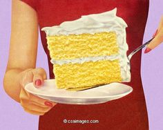 Woman Holding Large Piece of Cake- csa images