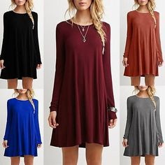 Fashion Women Casual Blouse Long Sleeve Lady Skirt T-Shirt Loose Dress Clothes | eBay