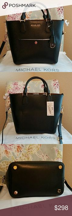 NWT! Michael Kors Greenwich Large Bag Crafted in fine Saffiano leather this MK bag creates a modern look. Super roomy interior. Long strap for optional crossbody wear. Gorgeous gold hardware. Inside zipper pocket. Can be cinched to completely change the shape! MICHAEL Michael Kors Bags Shoulder Bags