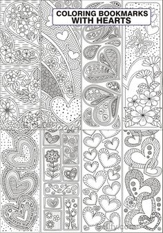 8 Coloring Bookmarks with Hearts - RicLDP Artworks Free Printable Bookmarks, Paper Bookmarks, Templates Printable Free, Printables, Bible Verse Coloring Page, Cool Coloring Pages, Coloring Books, Kids Coloring, Heart Doodle